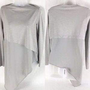 Zara Light Gray Crepe Asymmetrical Blouse